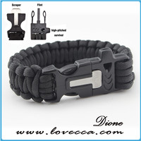 outdoor survival 7 strands 350 paracord bracelet with flint fire start and whistle