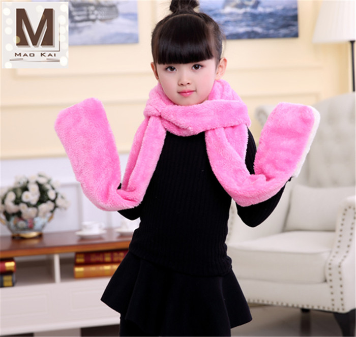 Lovely Children Winter Cartoon Rabbit Plush Scarf Hat Glove Sets