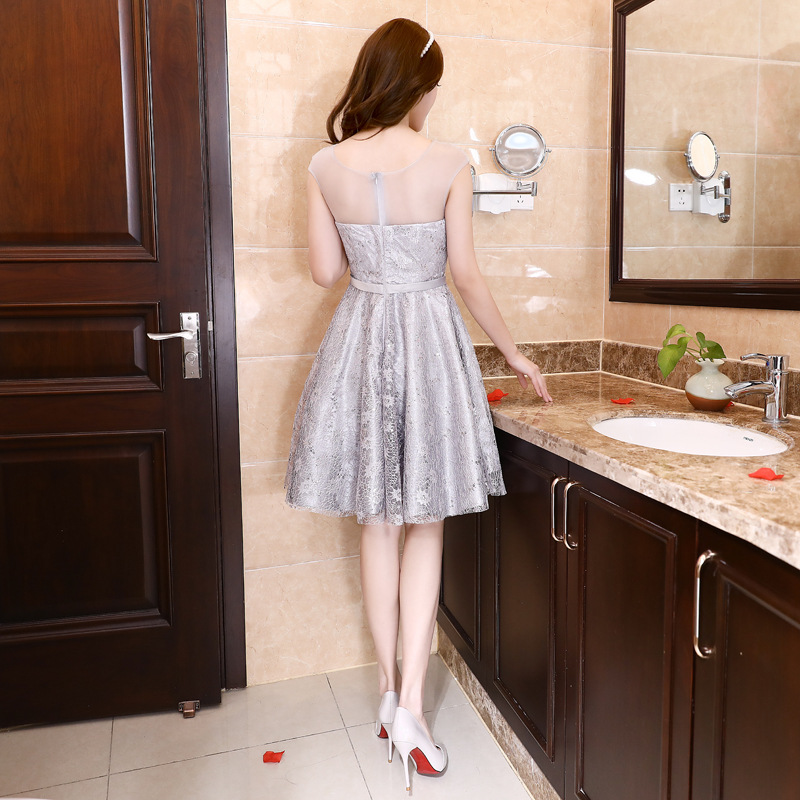 JS 24 Factory Cheap Price Top Quality Wedding Gowns Silver Grey Discount Bridesmaid Party Dress 049