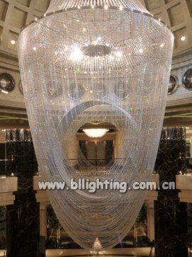 Crystal hall movable ceiling light fixture