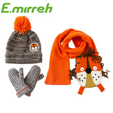2016 new style 0-7 years kids winter knitted animal hat mitten gloves and scarf set for boys girls