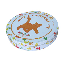 Custom Printed Flat Round Candy Packaging Tin Box