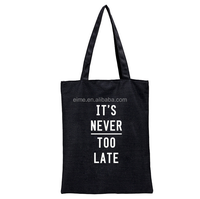 Wholesale Factory Price Custom Logo Black Travel Cotton Canvas Tote Bag