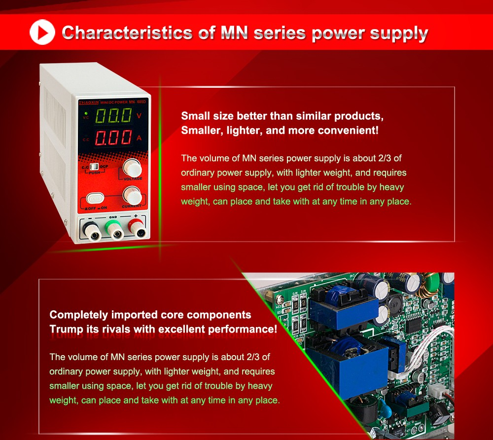 0-60V 0-5A ZHAOXIN MN-605D MINI Switching DC regulated Power Supply