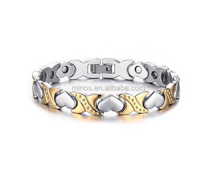 Custom 316l Mens Stainless Steel <strong>Jewelry</strong> Fashion X Love Heart Shape Health Magnetic Bracelets Power Energy Bracelet