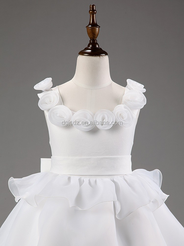 2016 children wedding dress clothing wholesale long white wedding formal dress for kids