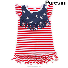 Children girls 4th of July holiday stars and stripes cotton sleeveless tops baby girl fringed independence day wear clothing