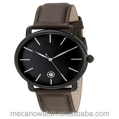 Original Men's Quartz Watch with Black Dial Analogue Display and Genuine Leather Strap