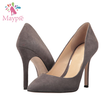 Wholesale Women's Closed Toe Pumps Trendy Evening Formal Gray High Heel Dress Shoes