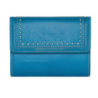 2017 embroidery blue leather plain wallet and purse for ladies WA6135