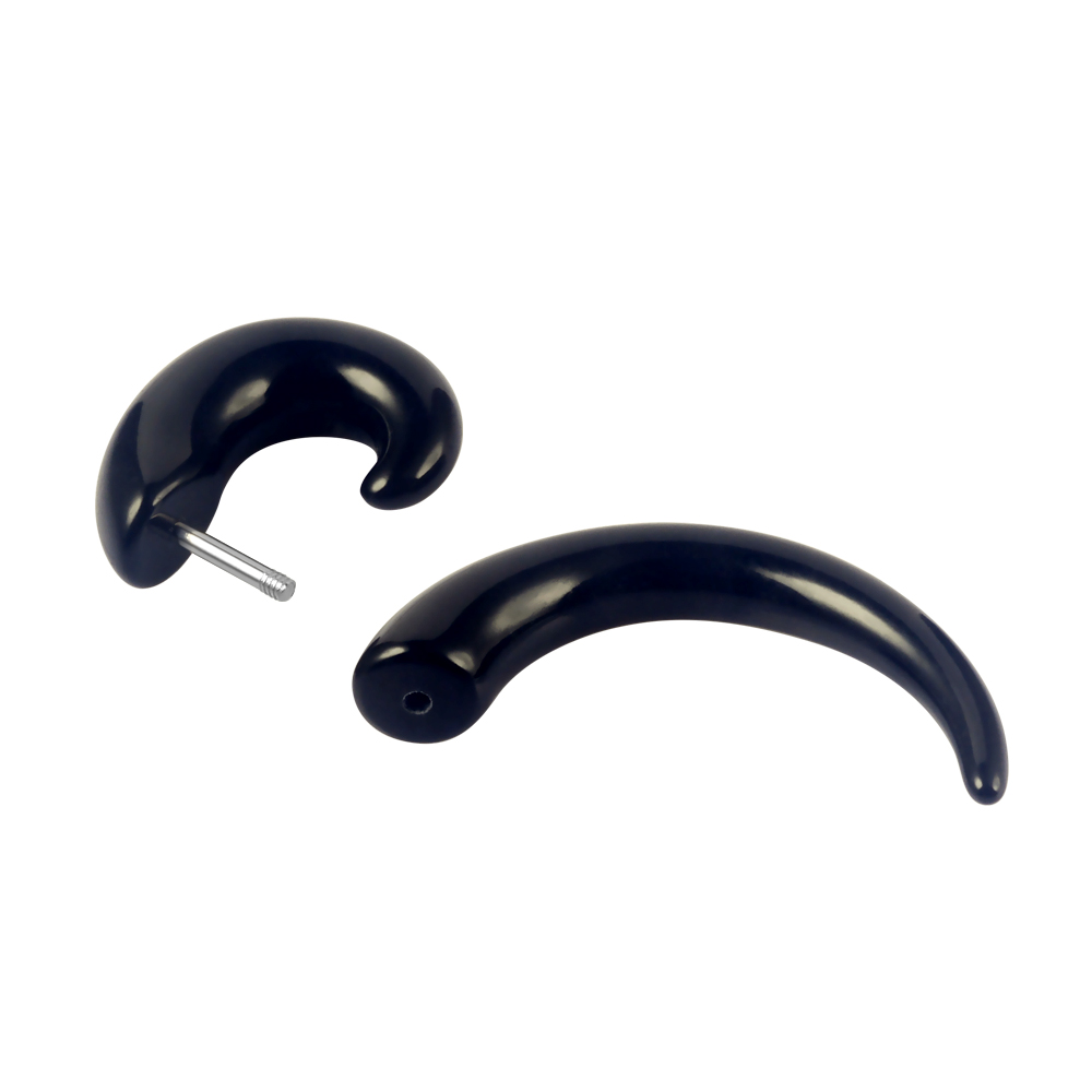 Fashion Black Snail Shaped Ear Tunnel with Silver Barbell Trendy Acrylic Spiral Ear Plugs Body Piercing Jewelry