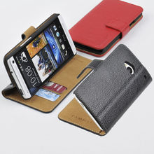 Wallet case for HTC One/M7 GENUINE LEATHER Wallet Card Holder+Pouch+Stand Filp Case Cover OC-2S