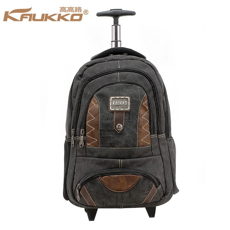 Trolley School Backpack Trolley Lugguage Bag Travel Bag Rolling Laptop Computer Backpack fits 15-15.6 inch - Black