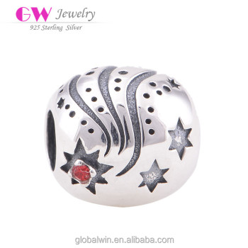 Fashion CZ Globalwin 925 Sterling Silver Design Round Bead Charm With Stars