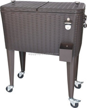 Rolling ice chest portable 80 quarts cooloer beverage cart steel rattan patio party drink cooler cart