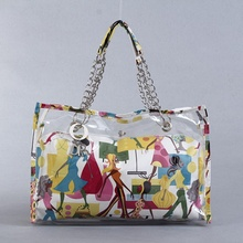 PVC New Arrival Women Transparent Bag Painting Shoulder Bags With Competitive Price