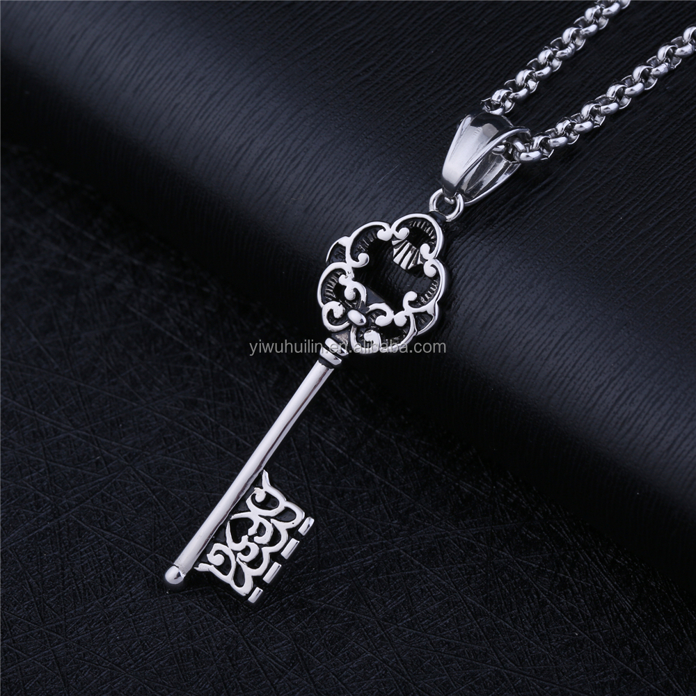 NS 060 Yiwu Huilin Jewelry Love Flower Pattern Lock Stainless Steel Key Couple Necklace