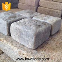 Multi Grey tumbled paver 10*10*5cm tuff stone grey color granite