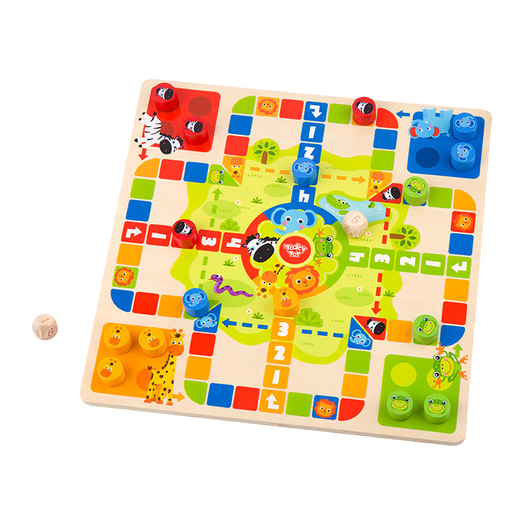 Tooky Brand 2019 Flying Chess Snakes and Ladders wooden toys