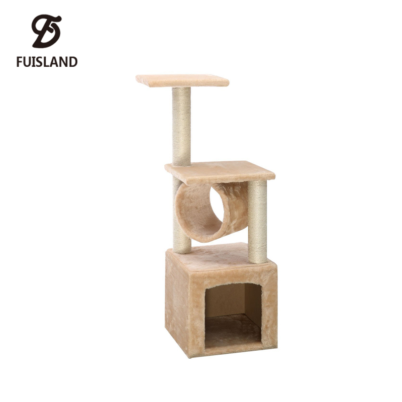 Sisal Covered Wood Cat Tree Tower Condo with Hommock for Kitten Jumping