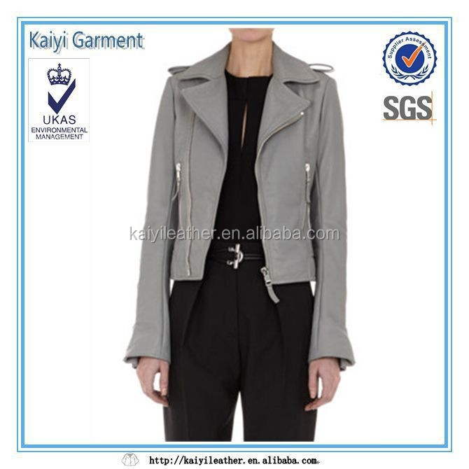 wholesale clothing new design women short grey leather jacket biker