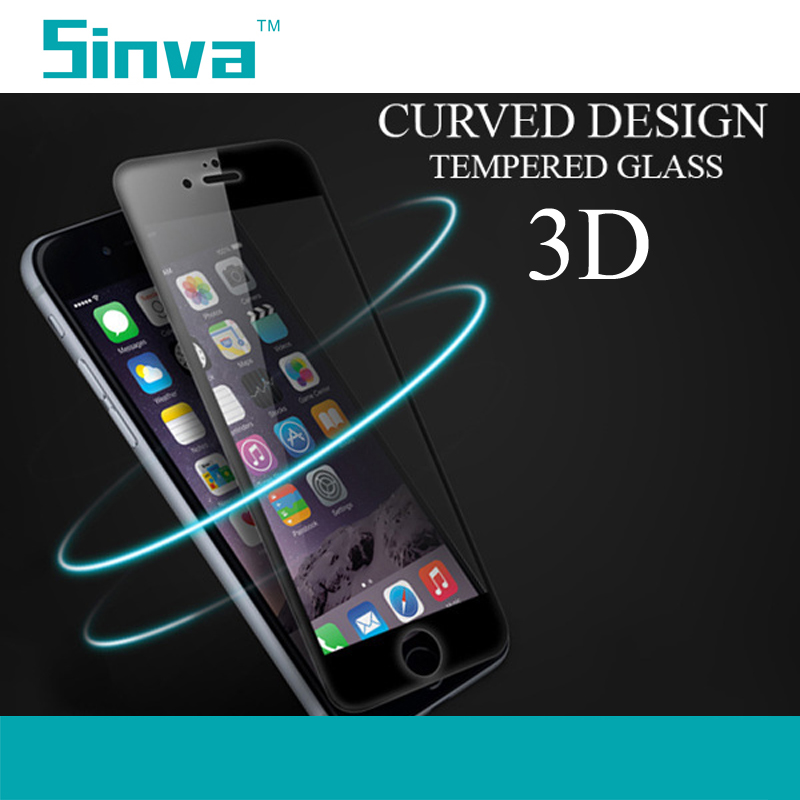 Sinva factory bubble free Full screen cover 3d curved tempered glass screen protector for iPhone 6 Plus with good price