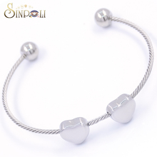 Women Stainless Steel Heart Twisted Cable Bracelet Cuff Bangle