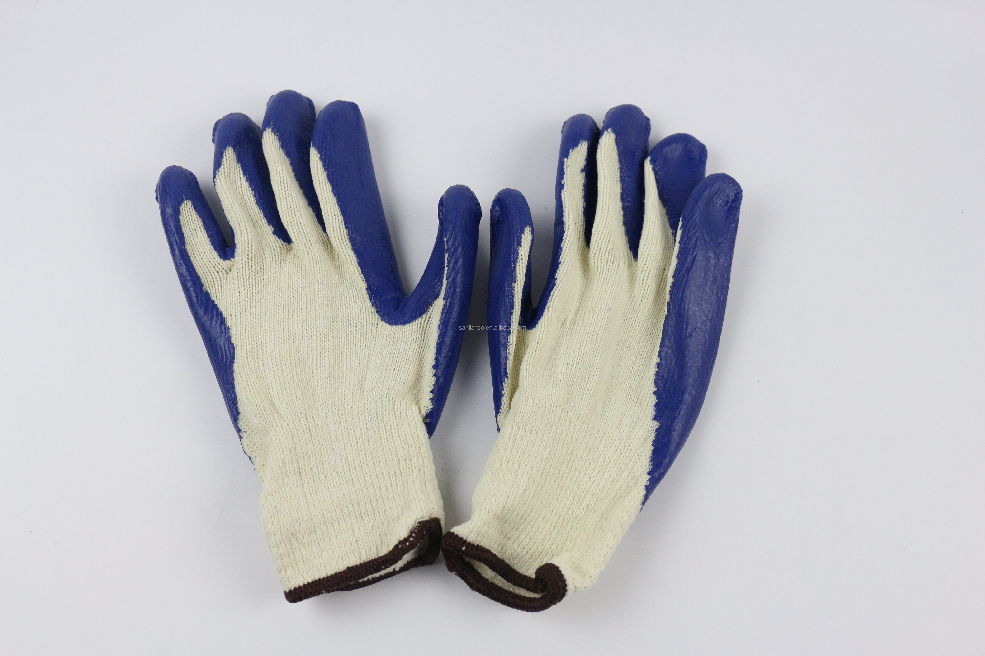 Sanjian blue smooth palm rubber cotton gloves heavy duty cotton work gloves