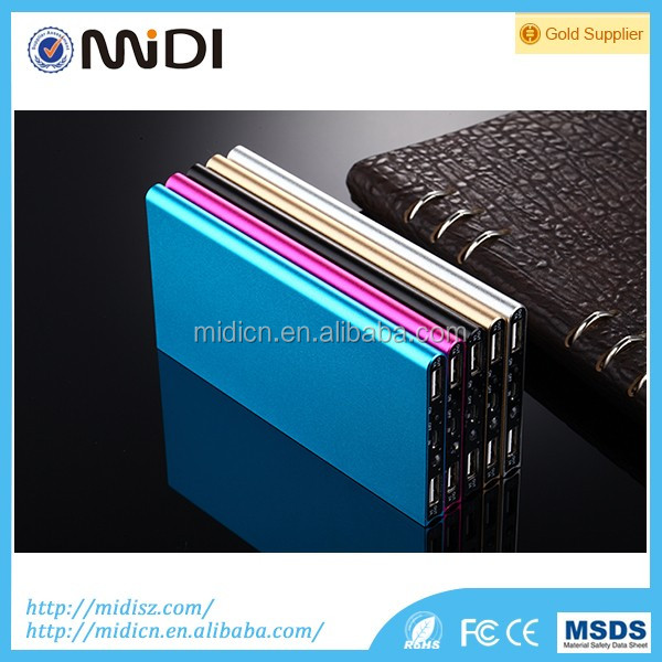 Dual USB Full capacity super thin metal Portable smart phone power bank 12000mah For smartphone