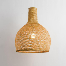 Vintage Round Handcraft Woven Pendant Light Bamboo Lampshade