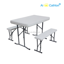 Outdoor PE Plastic Folding Table Set, Beer Garden Picnic Table and Bench for Sale