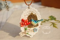 DIY handmade lace tray anti-brass birdcage flower fabric ribbon pendant necklace 2015 brooch available