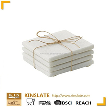 Natural White Marble cup mats a set of 4 stone Coasters with golden printing