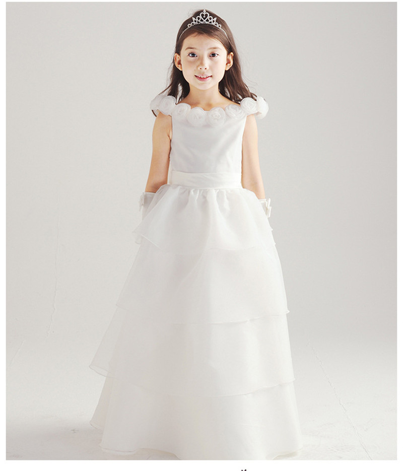 2016 New design 6 layer gown children girls white wedding dress princess long frock
