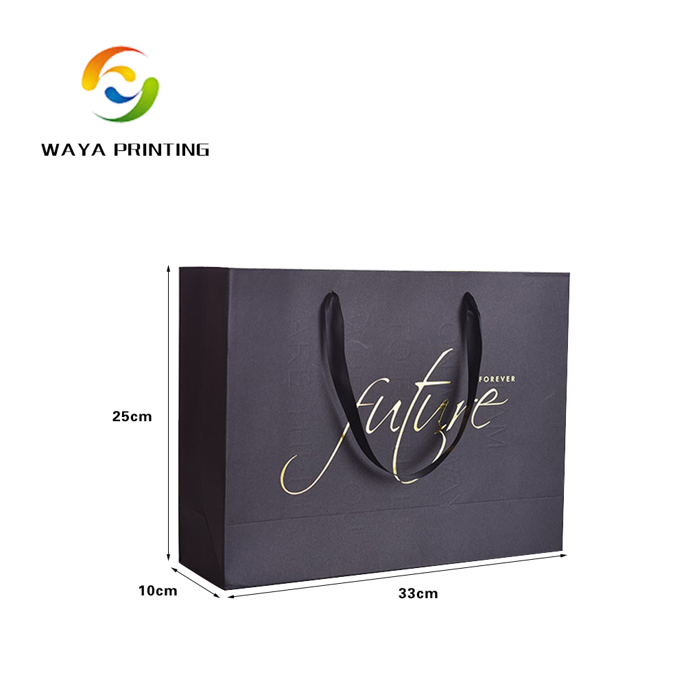 Shopping black paper hot stamping logo apparel packaging bags