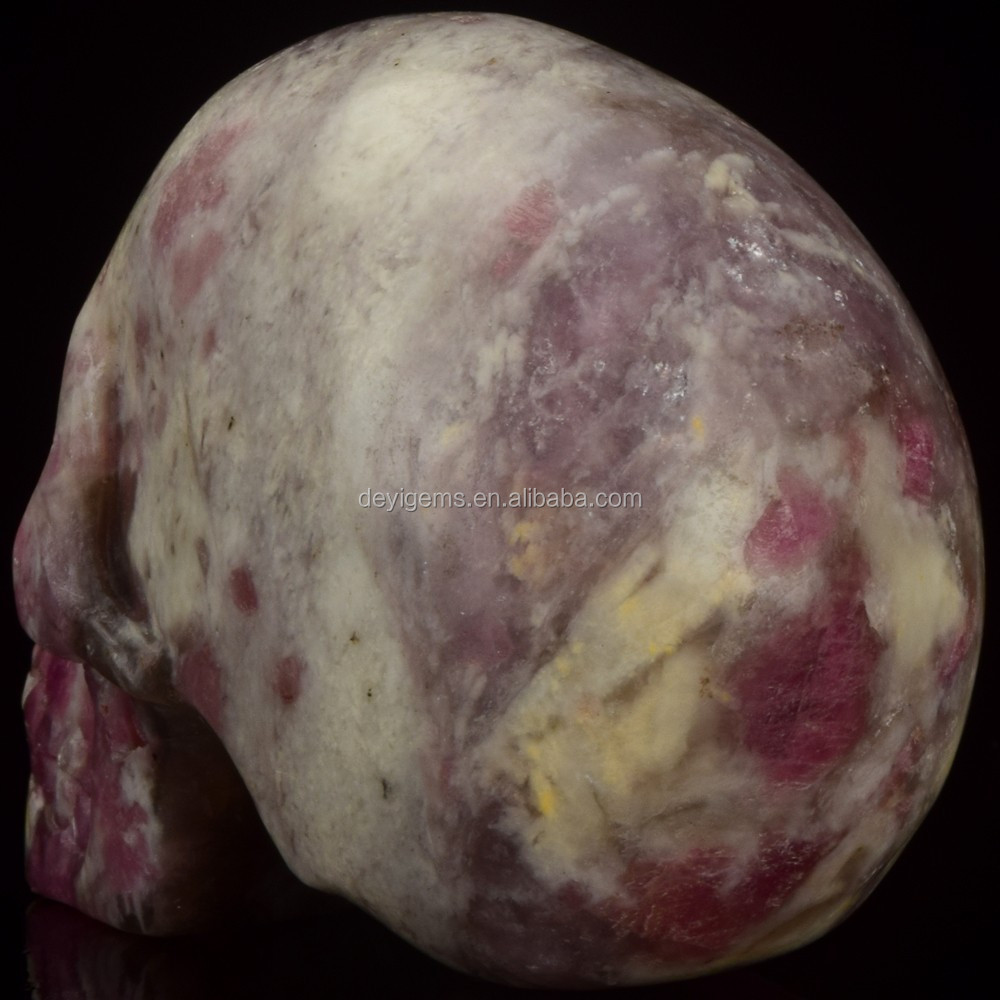 wholesale 3 inch Lepidolite stone hand carved skull head for craft