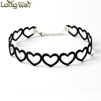2016 Hot Fashion Trendy Sweet Black Love Heart Velvet Leather Collar Choker Necklaces for Women Jewelry