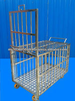 Stainless Steel cage for Commercial livestock/pets Up door and wheels
