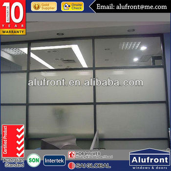 aluminum profile fire protection partition sliding door with tinted glass for office