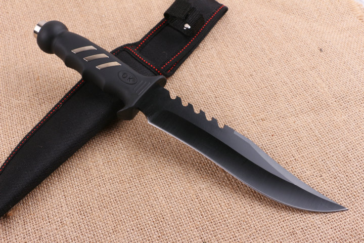 ABS Handle Straight Knife K317 Fixed Outdoor Knife Black Surface Camping Hunting Tool 7572
