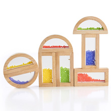 Children's desk puzzle wooden building block toy crystal beads rainbow blocks MT119310