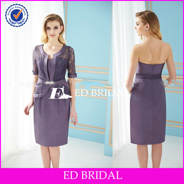 BY1159 New Arrival Stain Grey Violet Tea Length Mother Of The Bride Dresses