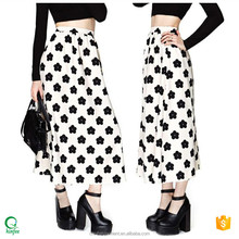 SK025 China Manufacturer Women Floral Flare Latest Design Pictures Maxi Long Skirt
