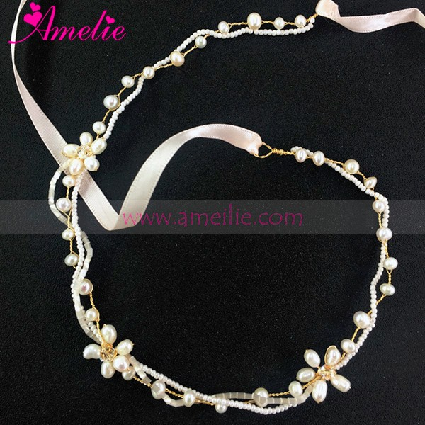 Delicate Style Gold Color Freshwater Pearl Bridal Headband as School Graduation Prom Girls Hair Accessories