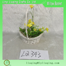 Small white Decorative wicker baskets/Flower baskets for girl/Spring flower baskets