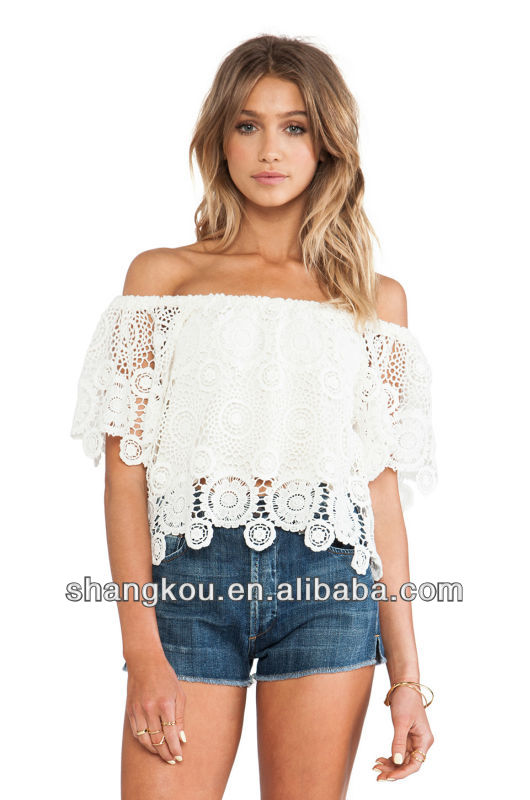 Sexy and cute crochet hook girl's t top