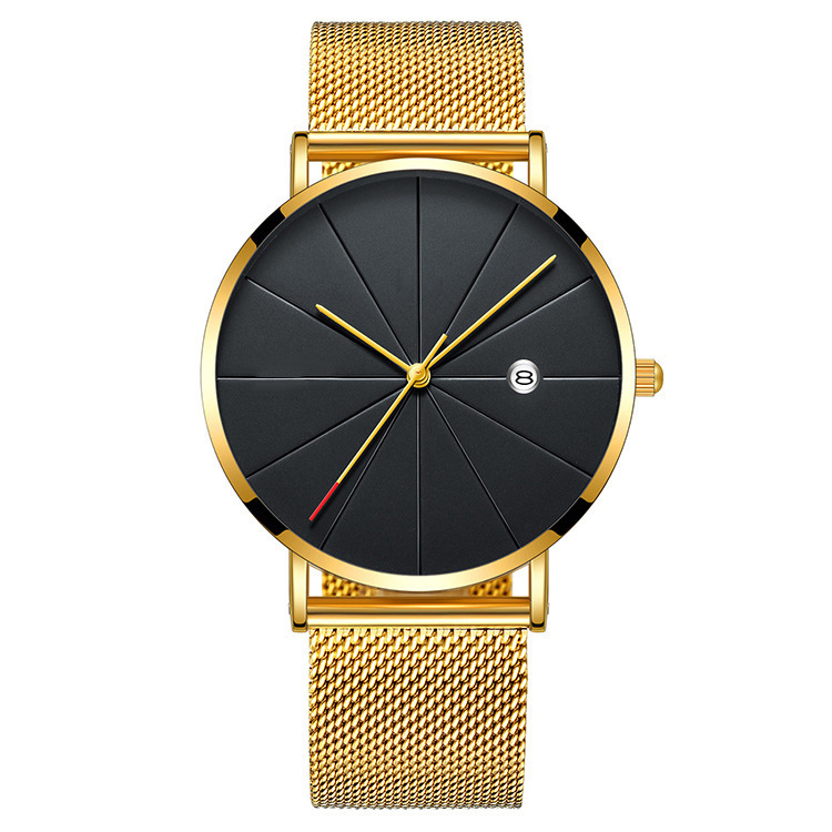 2018 New Arrival stylish Mesh Strap Quartz Branded Wrist Watch Waterproof Cheap Gold Watch For Men
