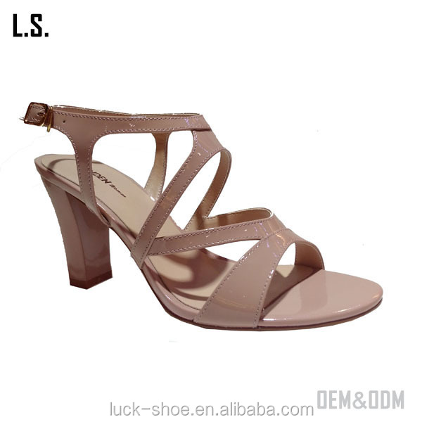 Stylish lady open toe sandals pink strip middle heel sandals soft comfortable lady sandals 2017