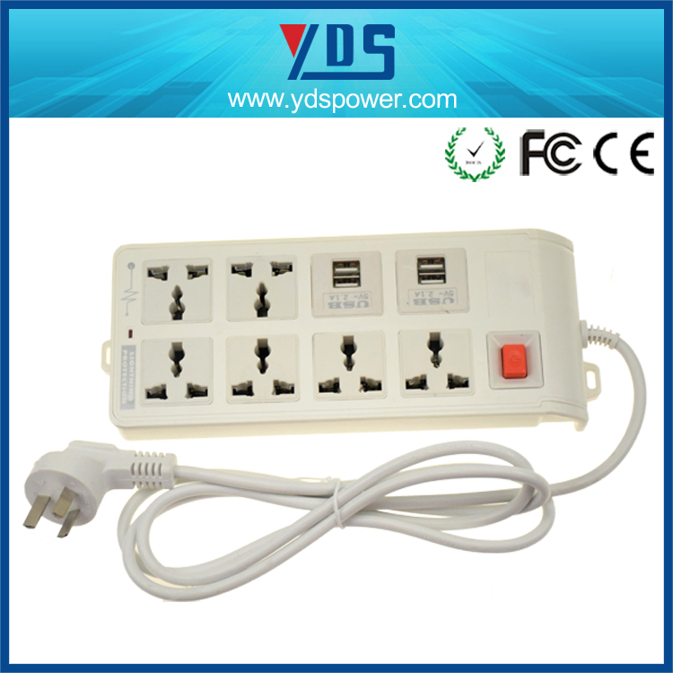 CE,FCC ,rohs ABS materials 4- outlet 6--USB Port usb wall socket with surge protector