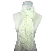 100% polyester woven spring and summer crochet lace fabric oblong scarf
